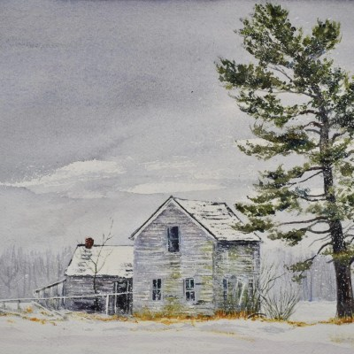 Painting of a farm house and white pine tree in winter called White Pine Guardian