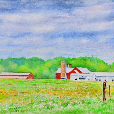 a painting of a Mid Michigan Amish Farm in spring