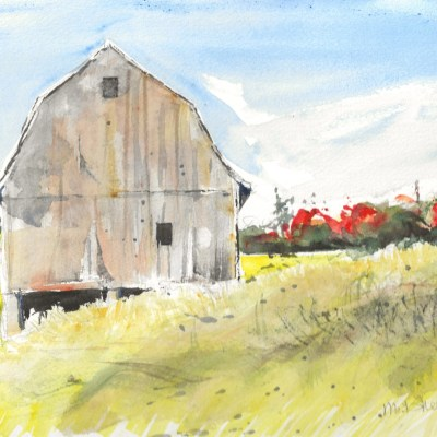 A watercolor painting of a Deerfield Road Barn