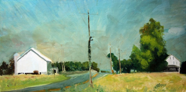 "Artist: Julie Myers Title: Mainsville and Piper Rd Medium: Oil Size: 20"" x 10"""