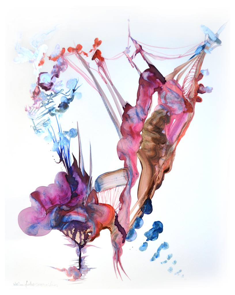 """Justine Serebrin When Birds Bloom Oil on Translucent Paper 26"""" x 20.5"""""""