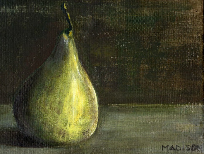 "Marta Madison - Crows Nest, Australia Title: Pear Medium: acrylic Size: 8"" x 10"""