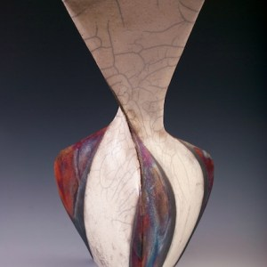 "Artist: Michelle Stoute City: Fair Lawn, NJ Title: Twisting Vase II Medium: Ceramics Size: 17.5"" x 9"" x 9"""