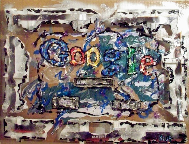 """Kevin O'Brien - North Easton, MA Title: Google (on my computer screen) Medium: Acrylic, sytrofoam, clear plastic paint containers, cookie box, wax paper, newspaper, blue celophane, aluminum foil, photos of my computer screen Size: 40"""" width x 32"""" height x 6"""" depth"""