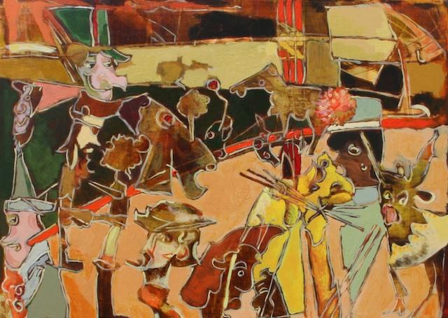 "Lori Wolf Grillias - Arroyo Grande, CA Title: Nuclear Circus Medium: Watercolor, Acrylic Size: 11"" x 14"""
