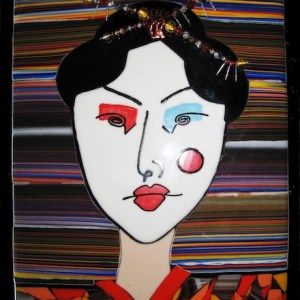 Frances Elson - Somis, CA Title: BUTTERFLY Medium: Fused glass and enamel Size: 16 x 20