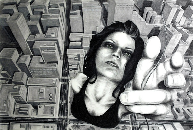 """Title: Letting Go Medium: Charcoal and Pastel Size: 32"""" x 49"""""""