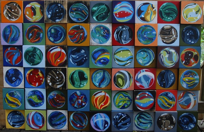 "Title: wall of marbles Medium: acrylic on wood Size: 18"" x 36"""
