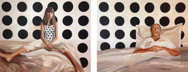 "Title Scene in White, Black + Brown   Medium 	Acrylic on canvas   Size 	48""x123"" diptych"