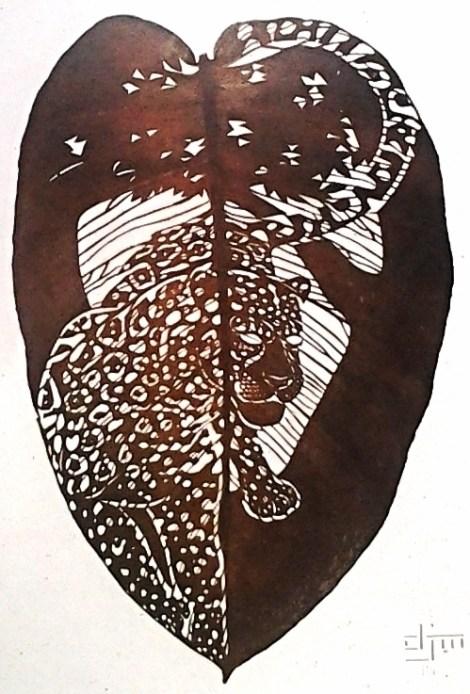 Title:Jaguar Medium:Plant Leaf, Epoxy Size:41 x 27cm