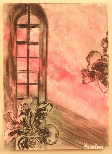 """Title:Morning Orchids Medium:watercolor and pencil Size:""""19 x 23"""""""