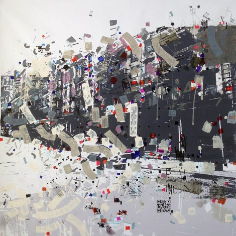 "Title:Baarow Grovve Medium:acrylic on B/W printed canvas Size:39"" x 39"""