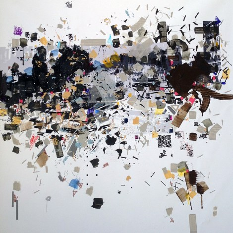 "Title:Ellriidg Medium:acrylic on B/W printed canvas Size:39"" x 39"""