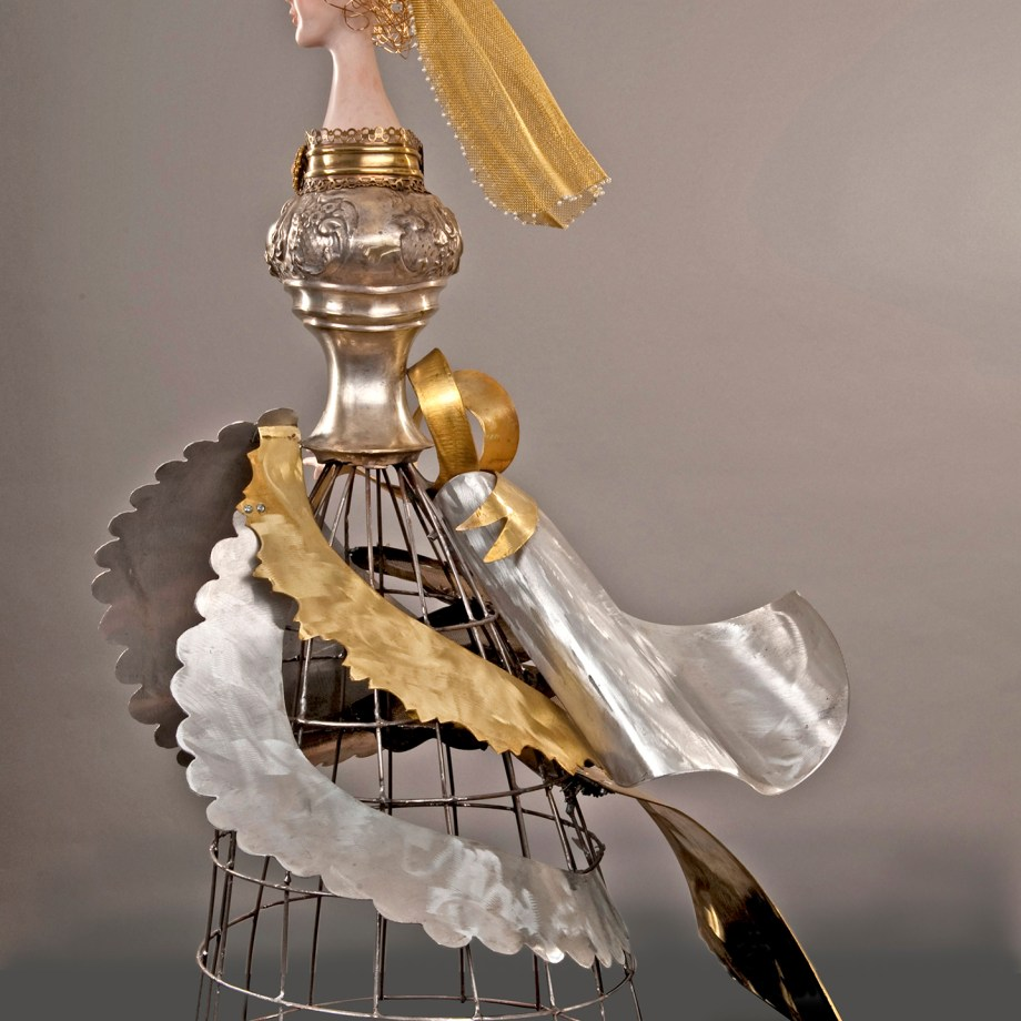 """Title: WHAT WAS SHE THINKING AS SHE WALKED DOWN THE AISLE Medium: Polymer clay, steel, aluminum, brass & fouond objects Size: 33.5"""" x 20"""" x 19"""""""