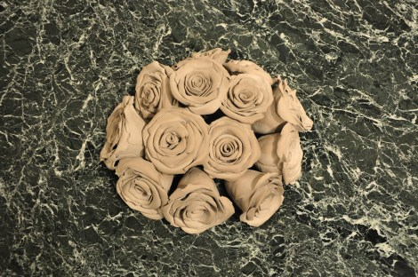 Title:Bed of Roses Medium:Clay and marble Size:	12 x 48 x 28""