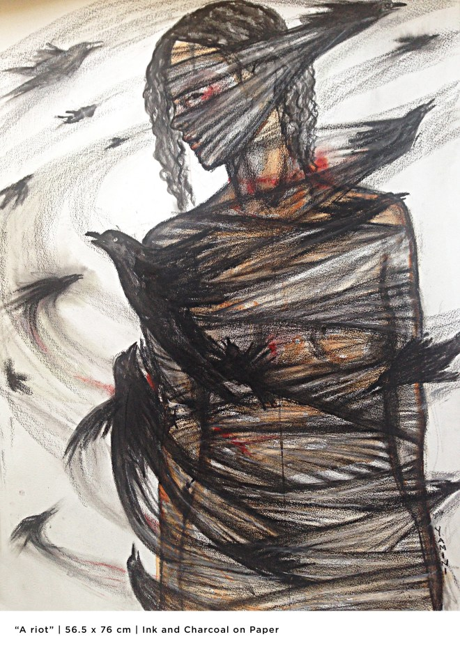 Title A Riot   Medium Ink & Charcoal   Size 56.5cm X 76 cm