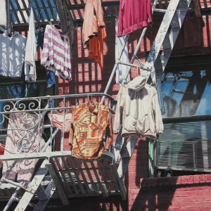 "Title: Clothes Lines Medium: Acrylic on Canvas Size: 24"" x 24"""