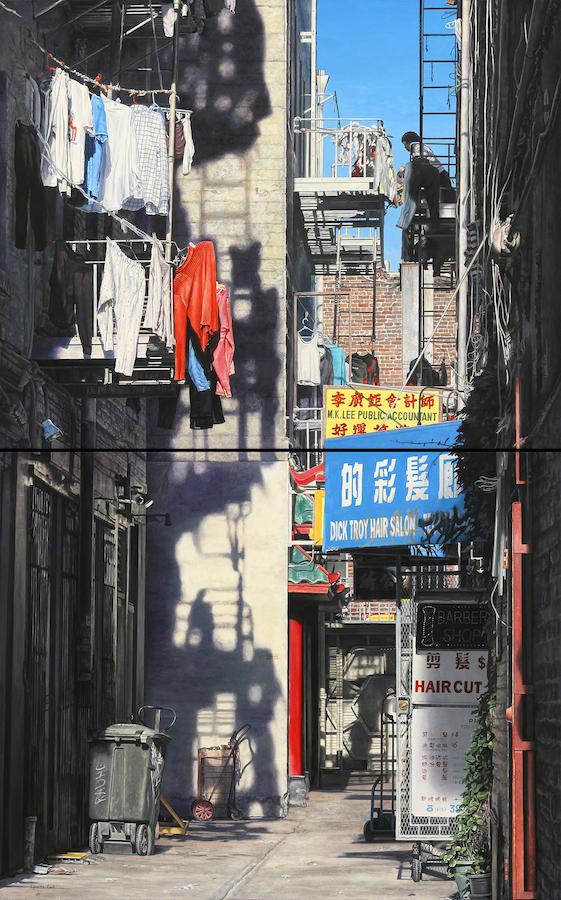 "Title:Chinatown-Donaldina Cameron Alley Medium:Acrylic on Canvas Size:48"" x 30"" (Diptych)"