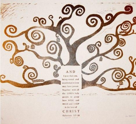 "Title:Ephesians 3:17-18 Medium:Relief/Letterpress Size:20"" x 21"""