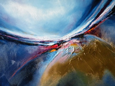 Title Awakening Reloaded blue and gold Medium Oil on Board Size 65CX65