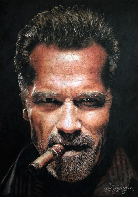 Title:Arnold Schwarzenegger Medium:	Coloured Pencil Size:	29,7 x 42 cm