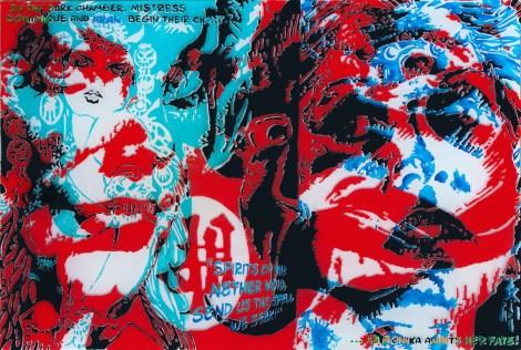 "Title:The Dark Chamber Medium:Enamel, Acrylic, Oil, Resin on Canvas Size:24"" x 36"""