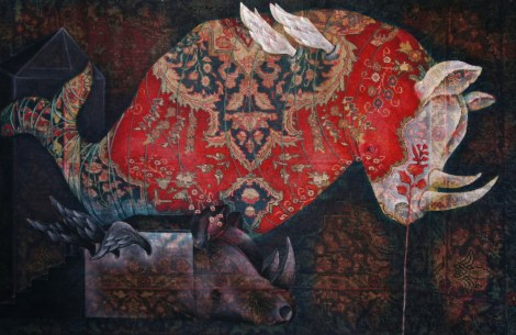 Title:World beneath our feet#2 Medium: Oil on Carpet Size:180.130Cm