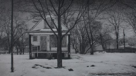 "Title:What was Once a Home (South Winchester Avenue) Medium:	Carbon pencil on toned paper Size:	11"" x 19.5"""