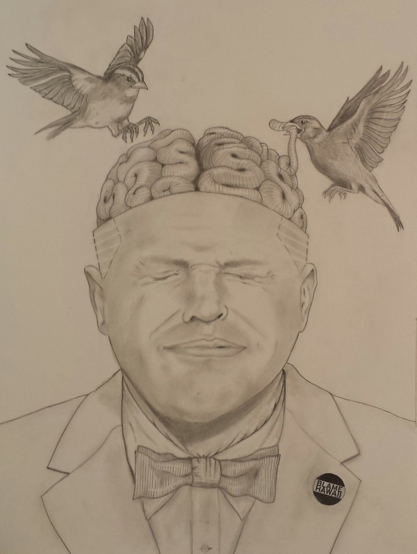 Title: This Man Refuses To Open His Eyes #2 Medium: Pencil on paper Size: 18 x 24 in.