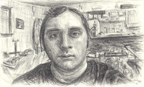 "Title:Self-Portrait, 2012 Medium:	pencil Size:	2"" x 3-3/8"""