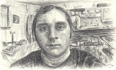 "Title:Self-Portrait, 2012 Medium:pencil Size:2"" x 3-3/8"""