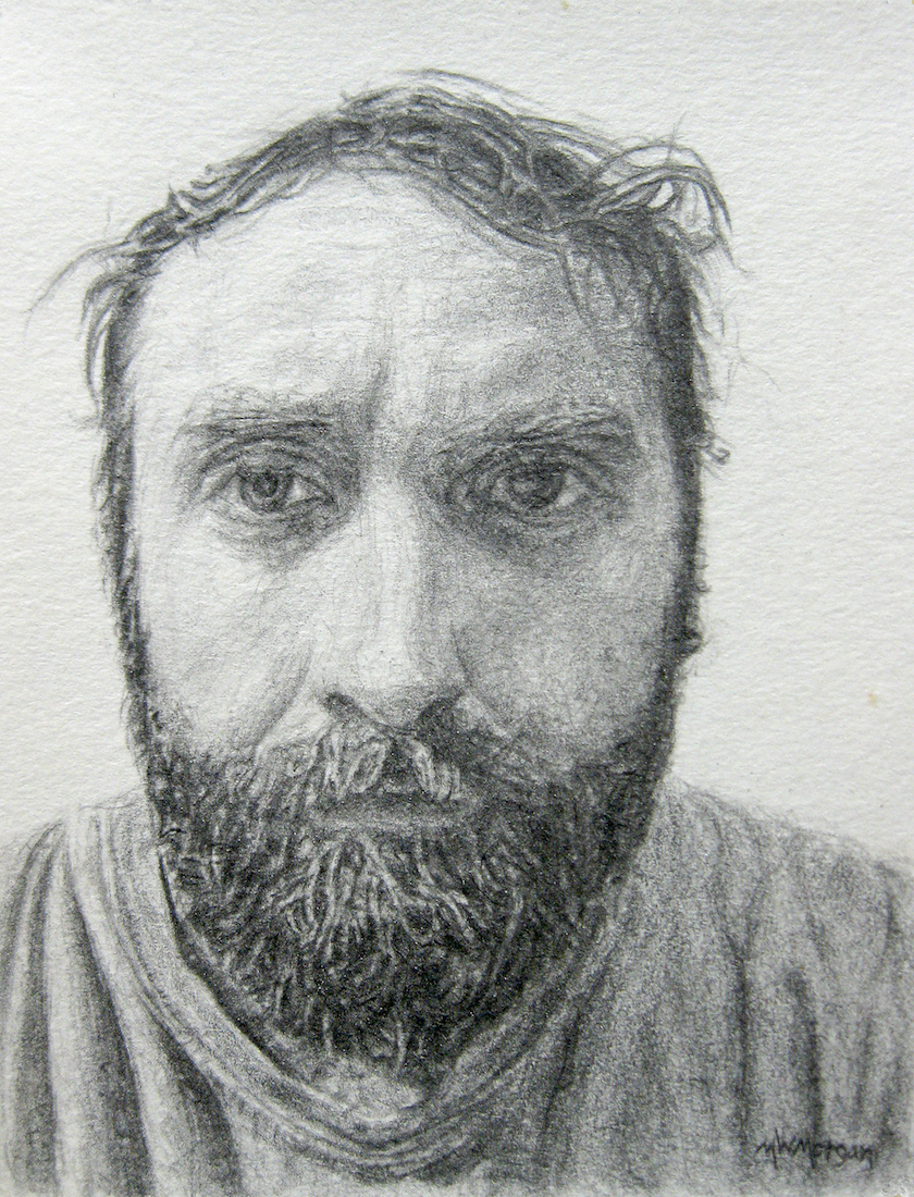 "Title: Self-Portrait, 2014 Medium: pencil Size: 4"" x 3"""