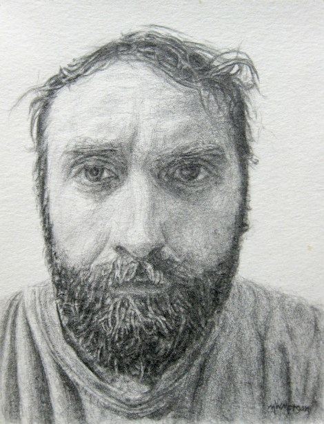 "Title:Self-Portrait, 2014 Medium:	pencil Size:	4"" x 3"""