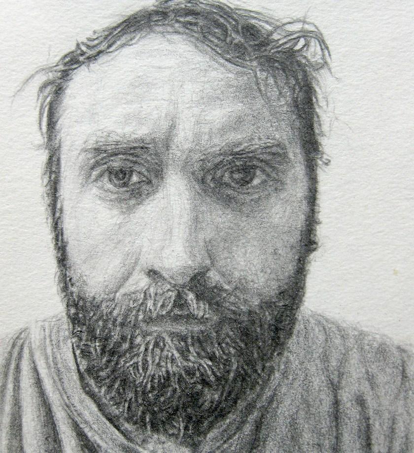 "Title: Self-Portrait, 2014 Medium: pencil Size: 4"" x 3"""