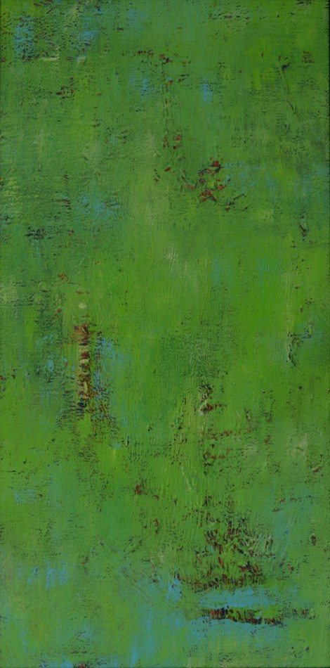 "Title:Green Over Red #1 Medium:	Acrylic Size:	15"" x 30"""