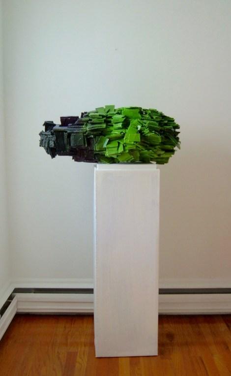 "Title:Bud Medium:sculpture,corrugated cardboard,oil paint Size:15x13x30 shown on 42""base"