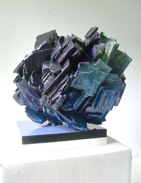 Title:Ocean Medium:sculpture,corrugated cardboard,oil paint Size:16x13x12