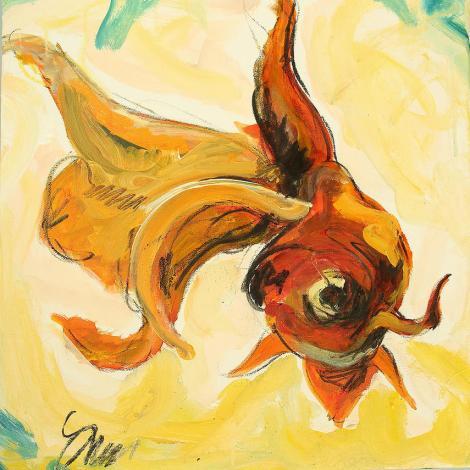 """Title:Goldfish Medium:acrylic Size:16""""x16"""""""