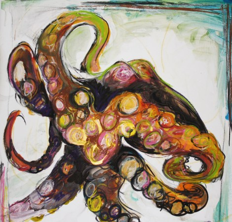 "Title:Octopus #4 Medium:acrylic Size:20""x20"""