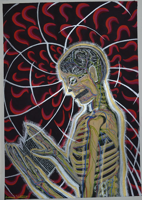 Title:Reading Medium: Acrylic, gouache, and watercolor on paper Size: 16 in x 23 in