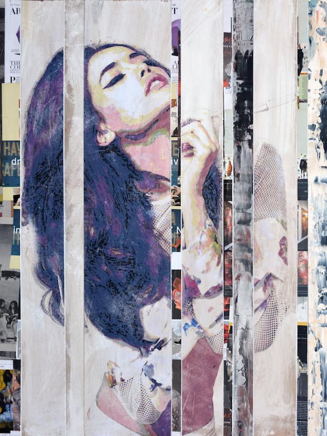 Title: Figure, Urban Mix, 01-10 Medium: mix media, acrylic paint and resin on panel Size: 30x40