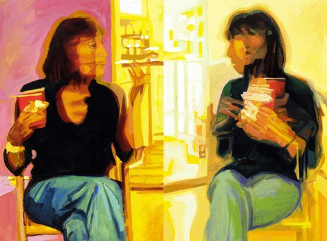 "Title:Constance Conversation Diptych Medium:	Oil on Board Size:	40"" x 60"""