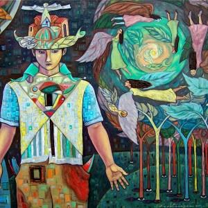 """Title Fascinados y alados arboles del amor. Medium Oil on canvas. Size 24x30"""""""