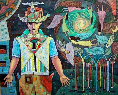"""TitleFascinados y alados arboles del amor. Medium Oil on canvas. Size 24x30"""""""
