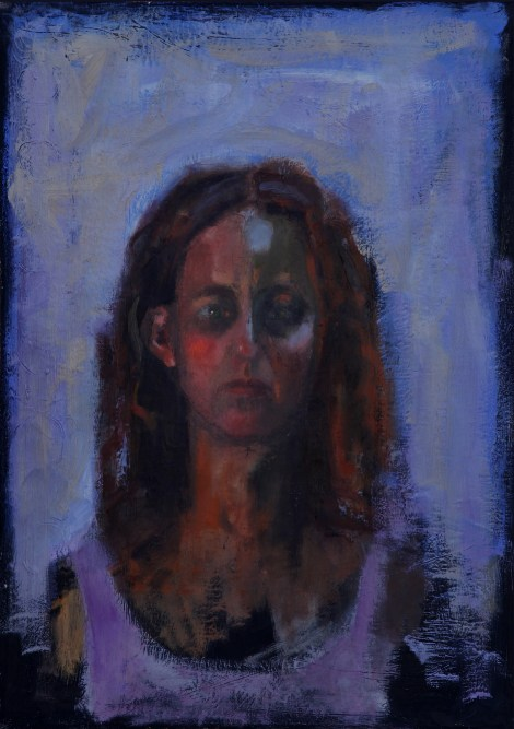 Titleportrait in purpel   Mediumoil on canvas   Size50/70 cm
