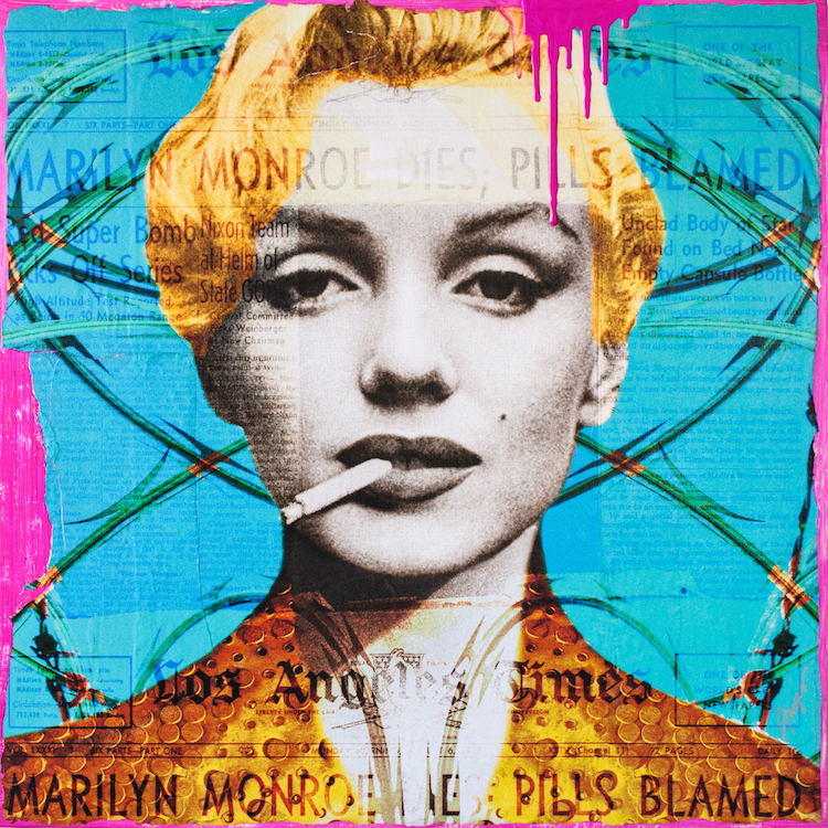 "Title Blame It on Marilyn Medium Mixed Media Size 36x36"""