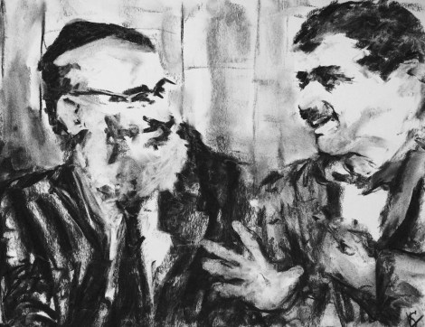 """Title""""It's the friendship, and the peace which comes from that.""""   MediumCharcoal   Size18 in x 24 in"""