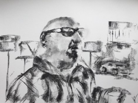 """Title""""Every summer me and the wife go to the Jersey shore.""""   MediumCharcoal   Size11 in x 12 in"""