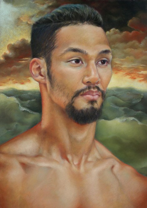TitleRed Sky At Morning (Portrait of Nelson) Medium Pastel Size 27x19