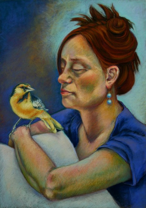 TitleYellow Bird Medium Pastel Size 27x19